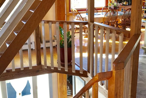 Beautiful stairway in Timber Frame Custom Home