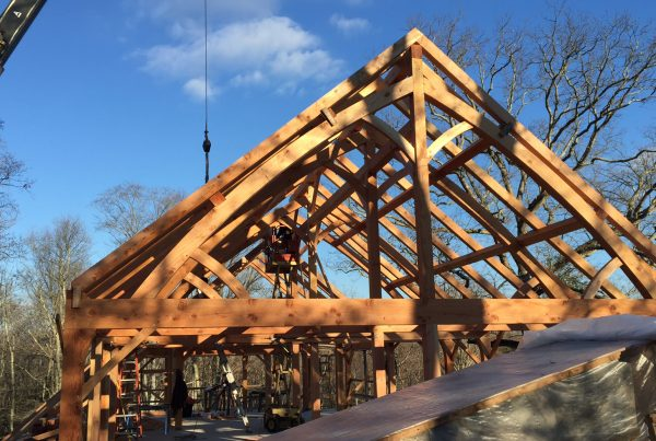Setting Timber Frame Custom Built Building