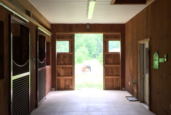 Timber Frame Horse Barn with Doors and Stables
