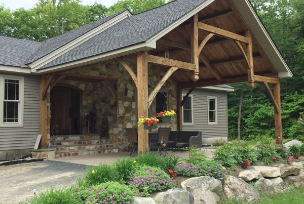 Timber Frame Outdoor Structure with Stone