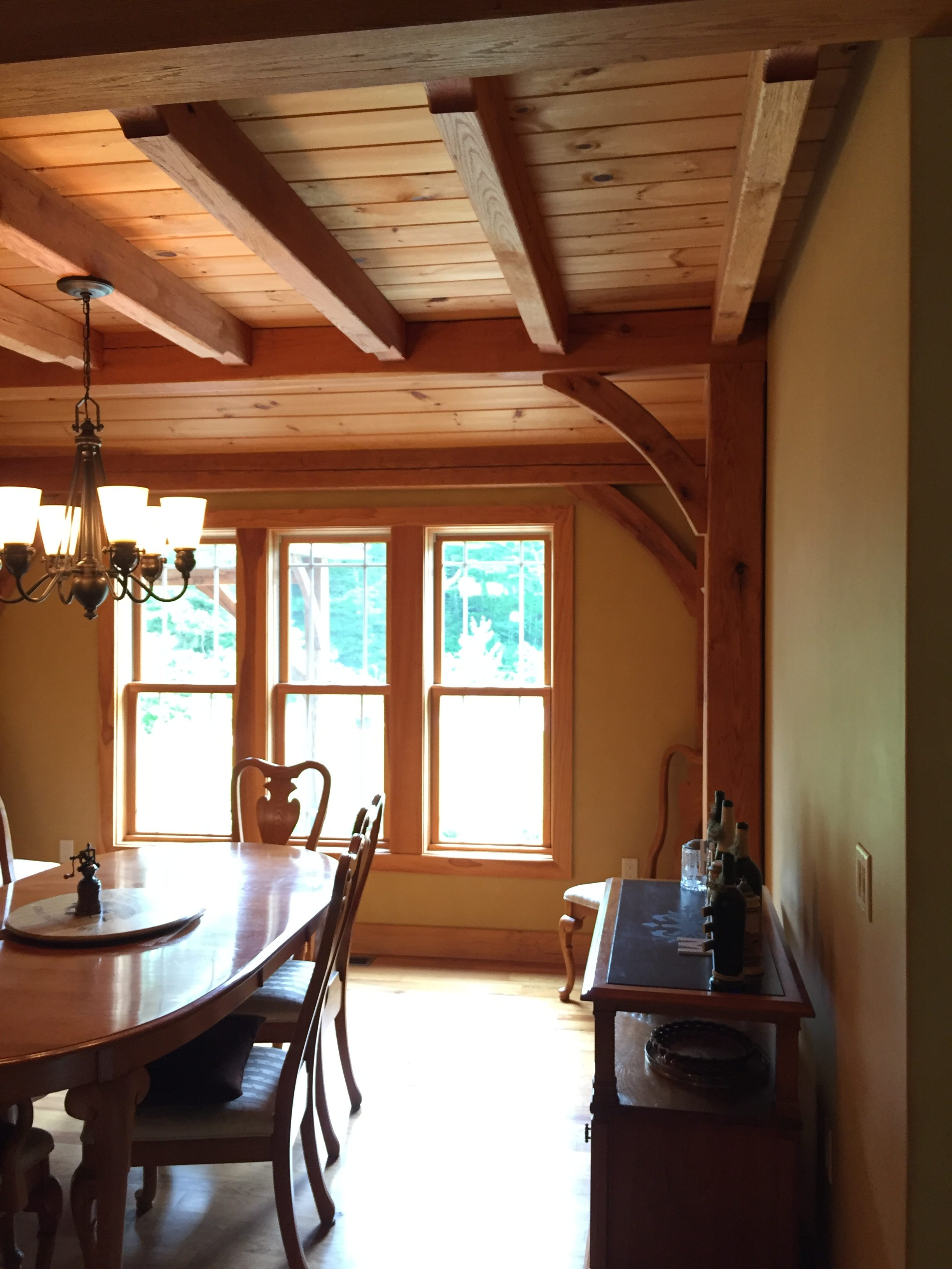 Beauty of Timber Frame Ceiling in Dining Room