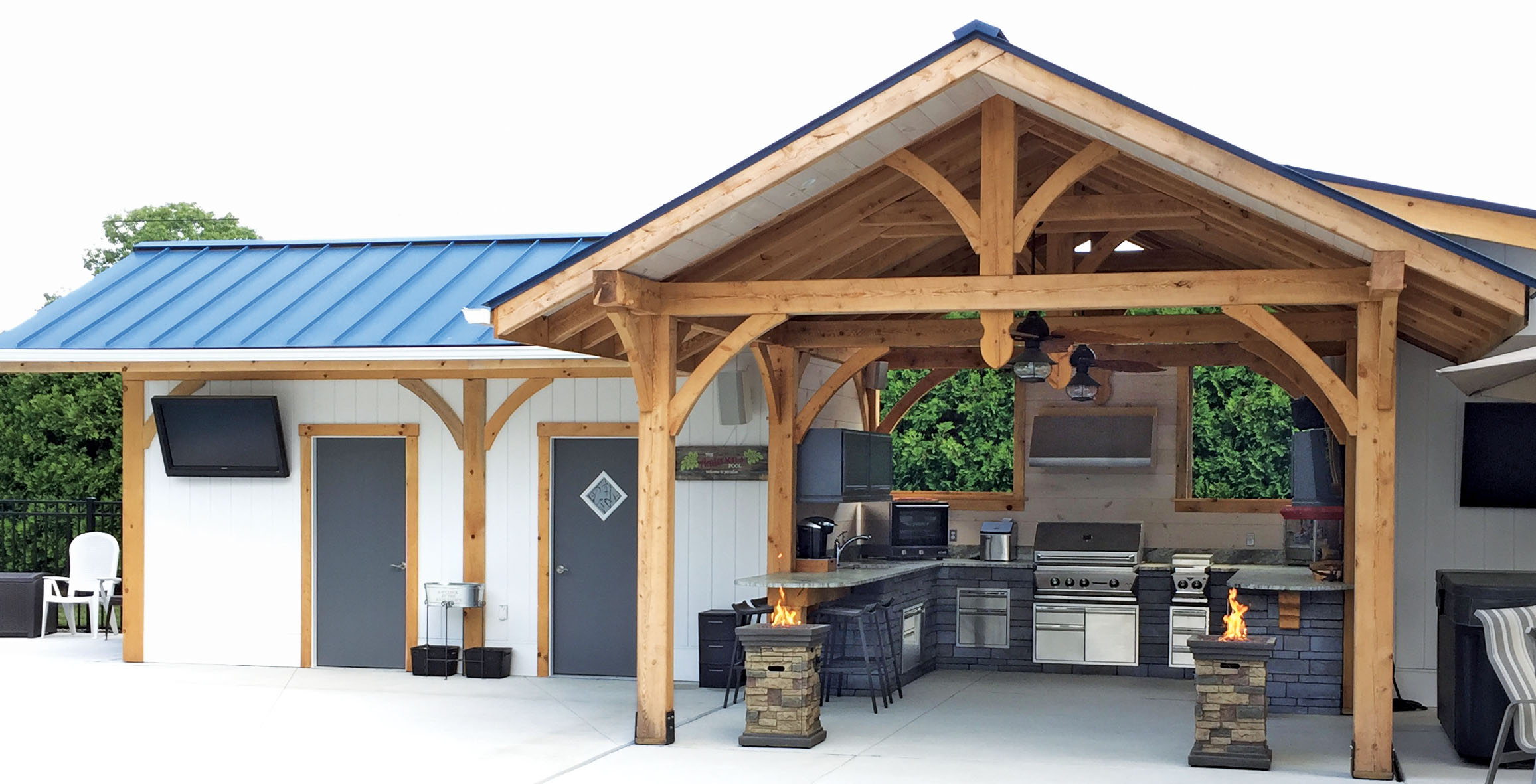 Timber Frame Outdoor Kitchen - Ware Built Timber Frames