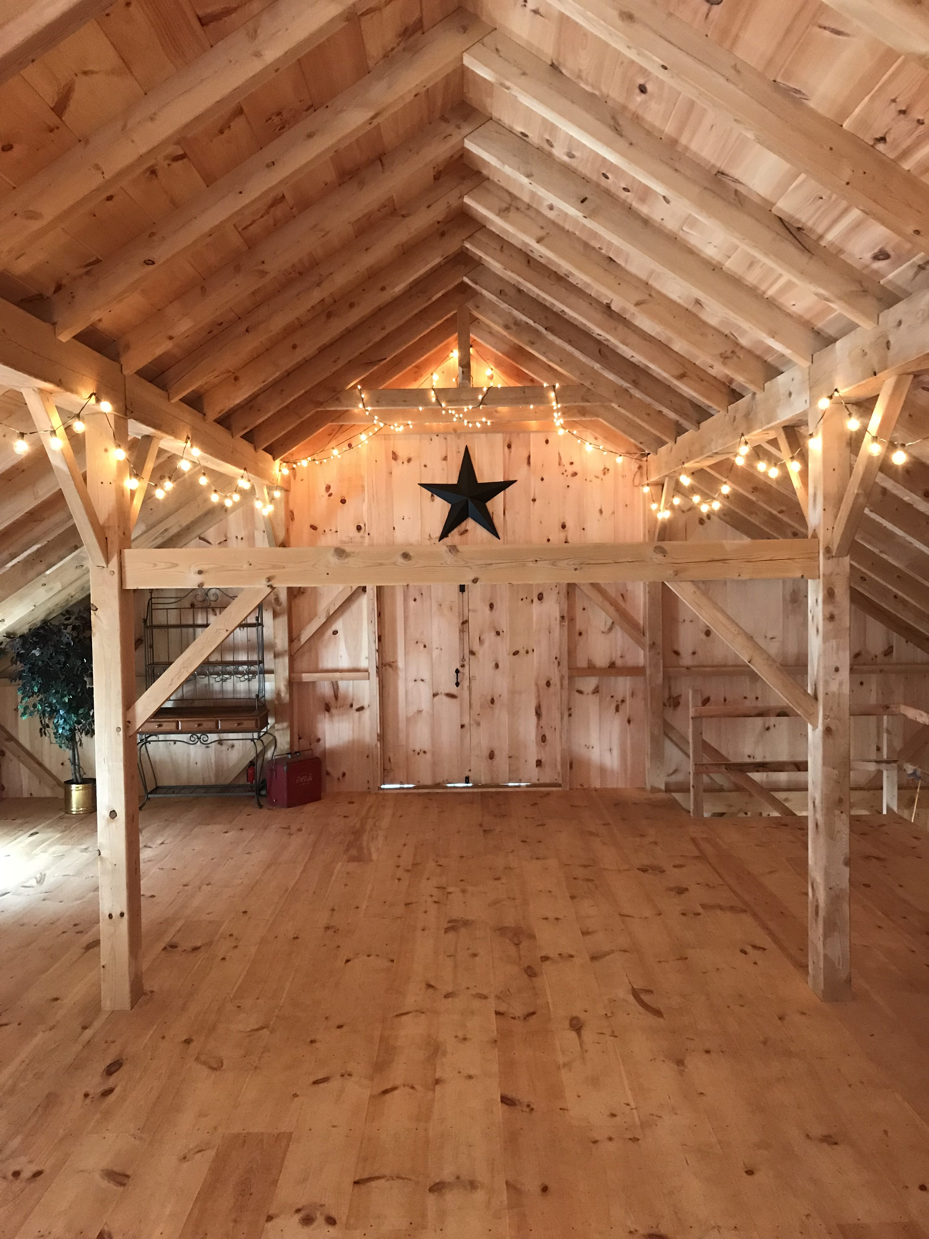 Timber Frame Barn With Black Star And Lights Ware Built
